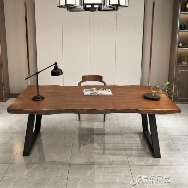 美式家用loft實木書桌單人辦公桌寫字桌簡約現代臺式電腦桌長桌YYJ【快速出貨】