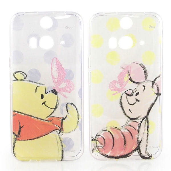 【Disney 】HTC Butterfly 2 彩繪手繪風透明保護套-維尼/小豬