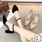 高跟鞋.MIT雜誌經典V字拼接繞踝粗跟包鞋.白鳥麗子