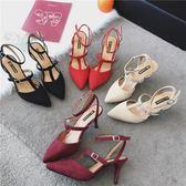 尖頭涼鞋一字扣帶高跟鞋性感中空淺口細跟單鞋女