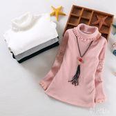中大尺碼上衣 女童蕾絲打底衫加絨秋冬新款童裝加厚韓版長袖t恤中大童上衣 js13314『科炫3C』