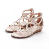 MICHELLE PARK 流行羅馬風素面交叉環繞金屬休閒涼鞋-米白色