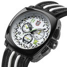 印第賽車限量陶瓷計時皮帶腕錶-白xPVD...