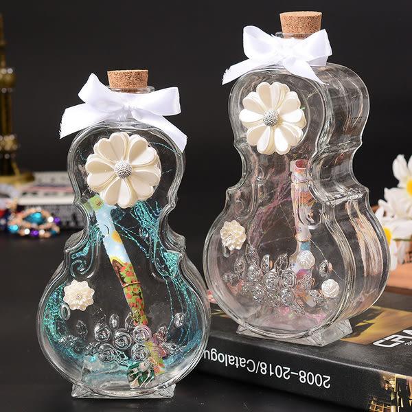 創意提琴造型許願瓶鑲花朵蝴蝶結紙條木塞玻璃心願瓶畢業禮物(隨機出貨)─預購CH366