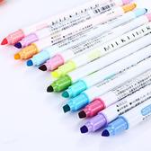 【BlueCat】護眼系圓頭與斜頭12色雙頭螢光筆 (12入裝)