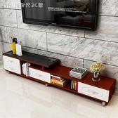 鋼化玻璃伸縮電視櫃茶幾組合簡約現代歐式小戶型客廳電視櫃igo中秋節禮物