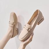 低跟鞋 新款低跟單鞋女英倫風黑色小皮鞋軟皮粗跟百搭一腳蹬樂福鞋