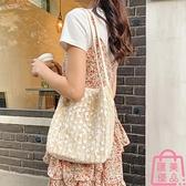 包包 蕾絲大容量水桶手提草編編織女包包購物袋【匯美優品】