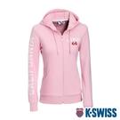 K-SWISS CA Print W/Ks Logo Jkt刷毛連帽外套-女-粉紅