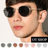OT SHOP太陽眼鏡‧抗UV400圓框情侶款中性復古墨鏡‧黑色/茶色/黑反光/玫瑰金‧現貨‧U03