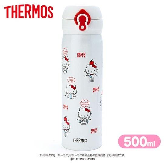 〔小禮堂〕Hello Kitty 膳魔師彈蓋不鏽鋼保溫瓶《紅白.日常滿版》500ml.水壺.水瓶 4901610-84017