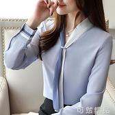 長袖雪紡衫女士年新款春秋裝職業氣質襯衣洋氣打底衫顯瘦上衣 可然精品