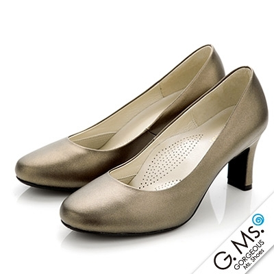G.Ms. MIT系列-OL通勤款全真皮軟Q雙窩心素面跟鞋-古銅