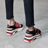 涼鞋女鬆糕厚底魔術貼韓版百搭學生軟妹羅馬沙灘鞋女『夢娜麗莎精品館』