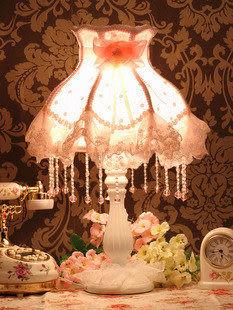 高檔歐式布藝蕾絲臺燈 調光 粉紅心情