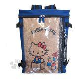 〔小禮堂〕Hello Kitty 尼龍防水透明雙層拉鍊後背包《深藍棕.積木》雙肩包.外出包.書包 4990270-11904