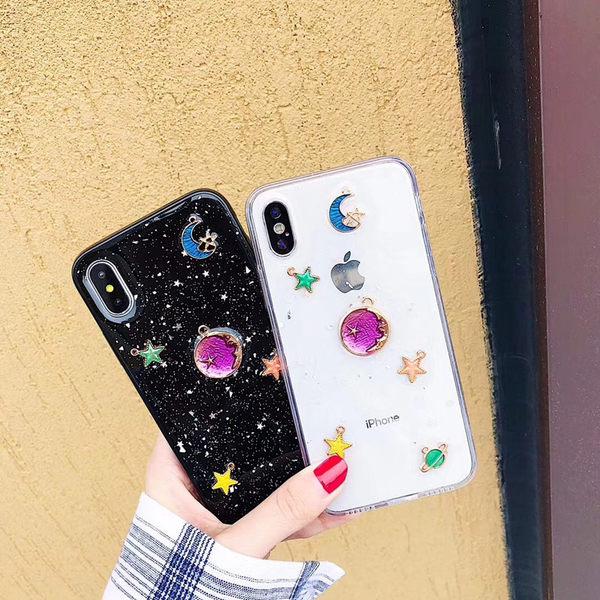 【SZ34】閃粉彩色星空透明 網紅貝殼 iPhone6s手機殼 iPhoneX手機殼 iPhone7/8plus手機殼