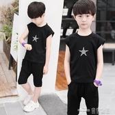 童裝男童夏裝套裝新款男孩衣服兒童短袖t恤中大童運動兩件套(聖誕新品)