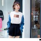 《AB10107-》台灣製造.高含棉色塊英文字燙印上衣 OB嚴選