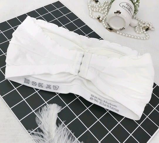 EASON SHOP(GU4678)防走光小花邊內衣女上衣服素色韓版彈力貼身短款內搭一片式無肩帶裹胸抹胸帶胸墊
