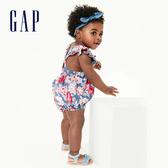 Gap 女嬰 活力格紋方領包屁衣 580455-海軍藍色