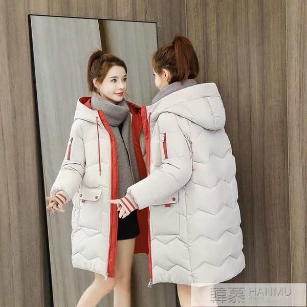 中長款羽絨棉服女2020新款韓版加厚學生棉衣外套連帽寬鬆顯瘦棉襖 牛轉好運到