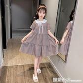 女童夏裝洋裝2020新款韓版公主裙秋裝中大童兒童夏季洋氣格子裙 聖誕節全館免運
