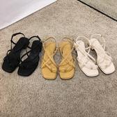 粗跟涼鞋女2020年新款夏季時尚細帶仙女風ins潮白色優雅羅馬鞋子 【中秋節】