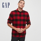 Gap男裝 法蘭絨休閒格紋翻領長袖襯衫 619446-紅黑格紋