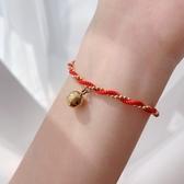 本命年轉運小金珠紅繩手鏈女鈦鋼鍍18k金手飾品閨蜜新年 花樣年華