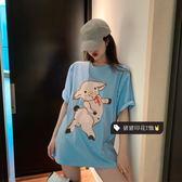 豬豬印花短袖T恤女裝寬鬆時尚百搭上衣打底衫2019正韓春季新款潮
