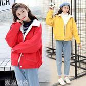 牛仔外套羊羔毛外套女冬季韓版學生bf寬松加厚棉服學院風短款加絨牛仔棉衣 雲雨尚品