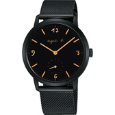 agnes b. 法國時尚小秒針米蘭手錶-黑/37mm VD78-KLB0SD(BN4009X1)