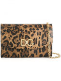 ★專櫃62折! Dolce & Gabbana 豹紋耐刮皮革DG金色皮夾鍊帶WOC皮夾包