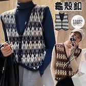 EASON SHOP(GQ0508)韓版復古撞色花紋短版前排釦大V領無袖毛衣針織馬甲背心女上衣服寬鬆外搭衫罩衫