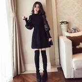 秋冬季女裝新款潮洋氣新品上衣服中長款蕾絲打底小衫時尚衛生衣