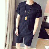 夏季短袖T恤套裝男薄款潮流青年大碼短褲休閒運動兩件套帥氣一套   提拉米蘇