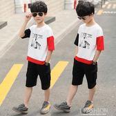 童裝男童夏裝套裝2019新款中大兒童夏季款短袖兩件套帥洋氣韓版潮-Ifashion