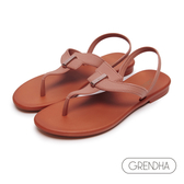 GRENDHA 簡約個性T字帶涼鞋-橙紅色