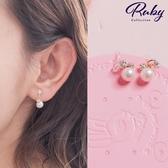 耳環 韓國直送‧珍珠水鑽矽膠耳鉤式耳環-Ruby s 露比午茶