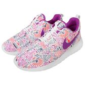 【六折特賣】Nike 休閒慢跑鞋 Wmns Roshe One Print PREM 白紫 粉紫 圖騰 塗鴉 女鞋【PUMP306】 749986-168