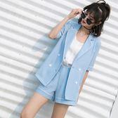 中大尺碼 韓版氣質黑色薄款外套短褲西裝套裝女夏季時尚小西服 WD643【衣好月圓】