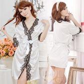 日式睡袍 愛在今宵!長袖透明蕾絲和服式睡衣﹝白﹞情趣睡衣 角色扮演服【530712】