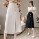 及膝裙 2021年夏季新款高腰休閒a字中長款不規則包臀黑色過膝半身裙女裝