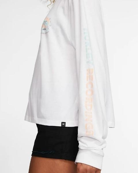 HURLEY 女 W RECORD PALMS PERFECT LS BLACK 長袖T恤-白