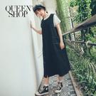 Queen Shop【01084834】無袖排釦造型口袋車線洋裝 兩色售*現+預*