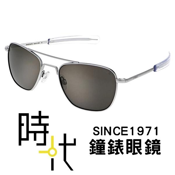 【台南 時代眼鏡 RANDOLPH】偏光墨鏡太陽眼鏡 AF138 58mm 霧銀框 灰色鏡片 美國製 軍規認證 飛官款