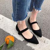 豆豆鞋 復古奶奶鞋正韓百搭尖頭一字帶平底魔術貼豆豆單鞋女 蒂小屋服飾  618來襲