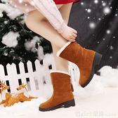 中筒靴 韓版平底坡跟短靴春秋絨面學生單靴內增高中筒流蘇靴冬季棉靴女鞋 618購物節