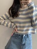 針織背心 早秋薄款冰絲條紋長袖針織衫女寬鬆套頭毛衣高腰小款上衣短款 芊墨左岸